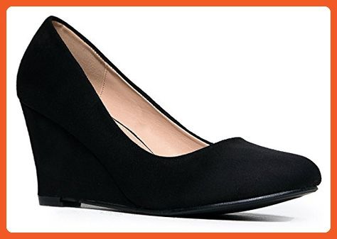 Olivia K Womens Adorable Low Wedge Heel Shoe Basic Slip On Easy Low Pumps Comfort