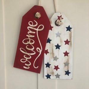 8x18 Patriotic Wood Door tags
