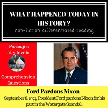 Ford Pardons Nixon Differentiated Reading Passage September 8