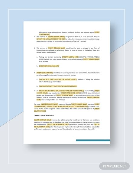 Website Service Agreement Terms Of Use Template Word Doc Google Docs Apple Mac Apple Mac Pages Website Services Word Doc Templates