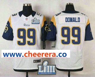 best service cf3a2 05802 Men's Los Angeles Rams #99 Aaron Donald White 2019 Super ...