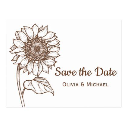 Rustic Brown Country Sunflower Engagement Floral Postcard Zazzle Com In 2020 Floral Save The Dates Rustic Rehearsal Dinners Wedding Engagement