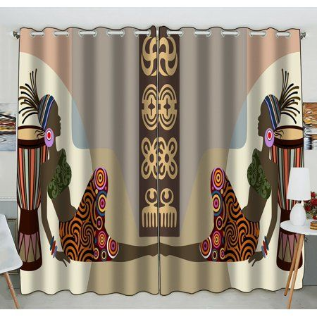 Gckg Super Specials African Woman Window Curtain Kitchen Curtain Size 52 W X 84 Inches Two Piece Walmart Com Curtains Curtain Sizes Kitchen Curtains