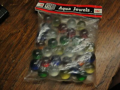 Ad Old Bag Of Vitro Aqua Jewels 30 Marbles 10 Cent Bag In 2020 Aqua Crackle Glass Glass Marbles