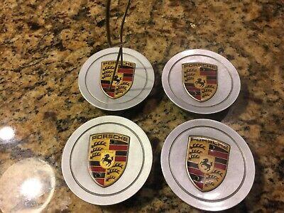 For Porsche 986 996 Alloy Hub Cap Emblems x4 GENUINE Wheel Center Cover Crest