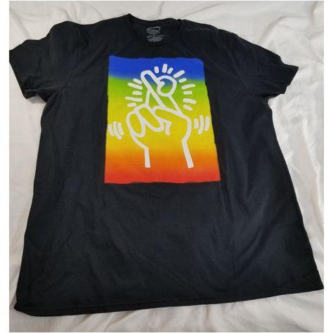 Keith Haring Black T Shirt Crossing Fingers Mens XL  fashion  clothing   shoes   3108d58ec
