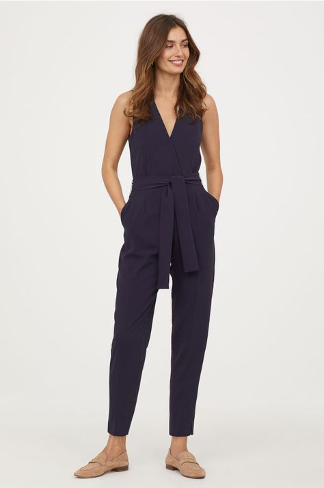 5eb4eb353d2 V-neck Jumpsuit - Dark blue - Ladies
