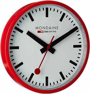Mondaine A990 Clock 11sbc Official Swiss Railways Red Metal 25cm Wall Clock In 2020 Wall Clock Clock Mirror Wall Clock