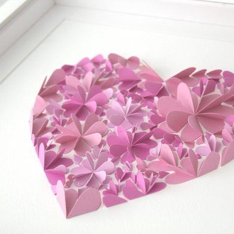 Paper Artwork: 3d Blossom heart - Pink