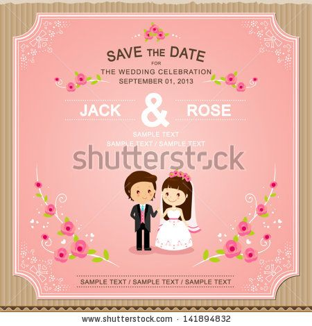 Cute Pink rose wedding invitation card template for my stock - wedding card template