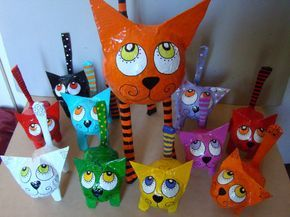 Paper mache cats. Gloucestershire Resource Centre http://www.grcltd ...