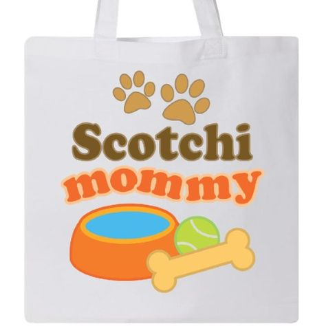 Inktastic Scotchi Mommy Tote Bag Pet Mom Pets Dog Doggy Lover Breed Mixed Hybrid Dogs Reusable Grocery Book Hws White