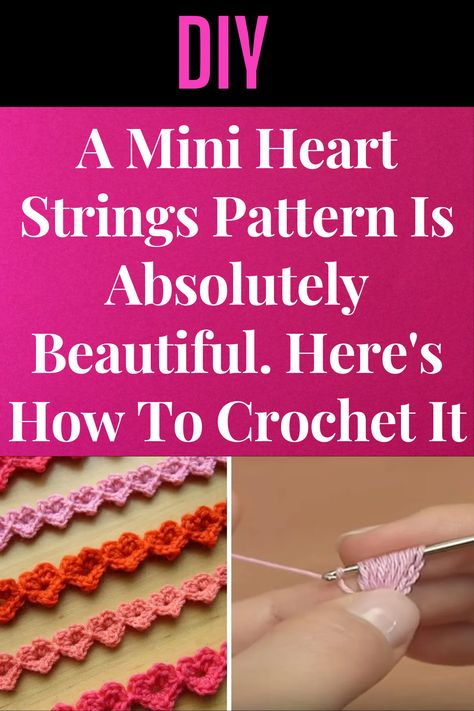 A #Mini #Heart #Strings #Pattern Is #Absolutely #Beautiful. Here's How To #Crochet It Crochet Quilt, Thread Crochet, Crochet Trim, Crochet Motif, Crochet Patterns, Macrame Patterns, Craft Patterns, Crochet Ideas, Crochet Stitches