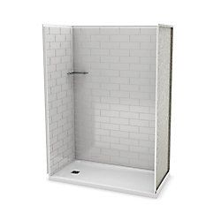 Utile 60 Inch Metro Soft Grey Left Hand Alcove Shower Kit Shower