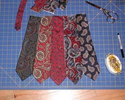 making a purse out of neckties- got a whole bag of them