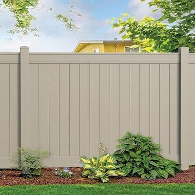 Freedom Emblem 6 Ft H X 8 Ft W Khaki Vinyl Flat Top Fence Panel Lowes Com Vinyl Fence Privacy Fence Panels Fence Panels