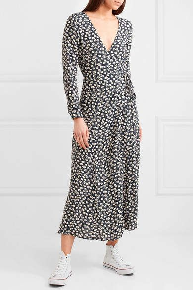 75b0eda0 GANNI - Roseburg Printed Crepe De Chine Wrap Dress - Navy | Dresses ...