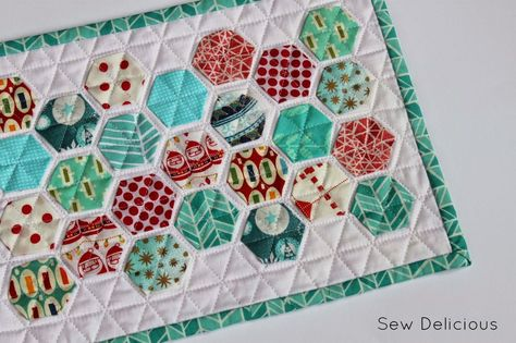 Sew Delicious: Quilted Hexie Mug Rug
