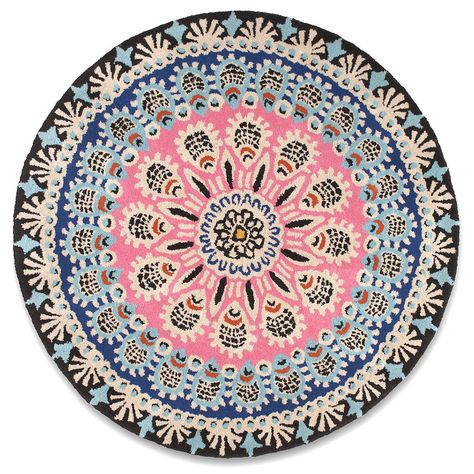 Plantation Rug Co Nomadic Round In Pink And Black Next Day Delivery From Worlds E