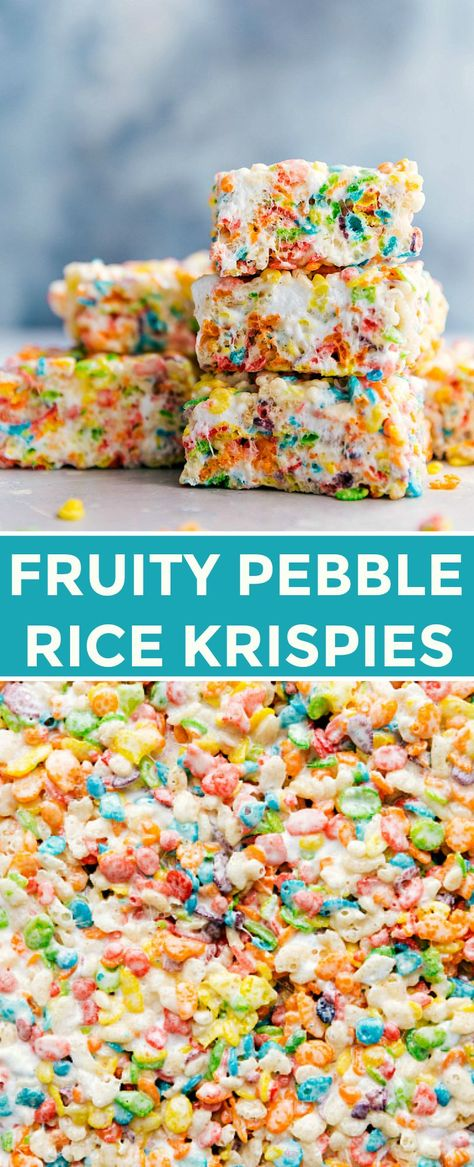 Colorful, sweet, and easy to make fruity pebble rice krispie treats will be a hit wherever you serve them! These treats take minutes to assemble, are easy to transport, and require only 6 ingredients. #treats #recipe #fun #desserts #cereal bars #Desserts for kids Fruity Pebble Rice Krispie Treats | Chelsea's Messy Apron