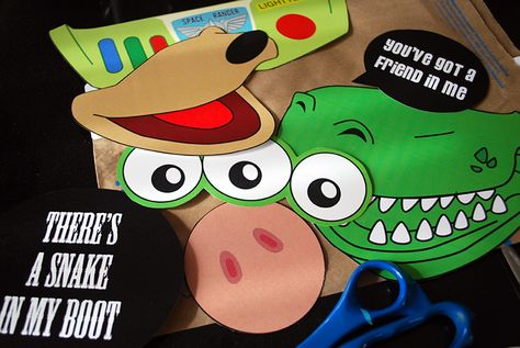 Toy Story Photo Booth Props {free printable PDF} | Free clever craft ideas, sewing patterns, templates and printables || Merriment Design