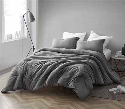 Gray Depths Twin Xl Comforter 100 Yarn Dyed Cotton Bedding Comforter Sets Cotton Bedding Twin Xl Comforter