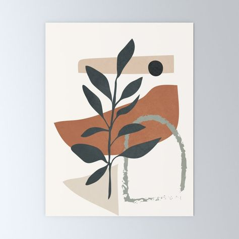 """Abstract Shapes 35 Mini Art Print by Flow Line - Without Stand - 3"""" x 4"""""""