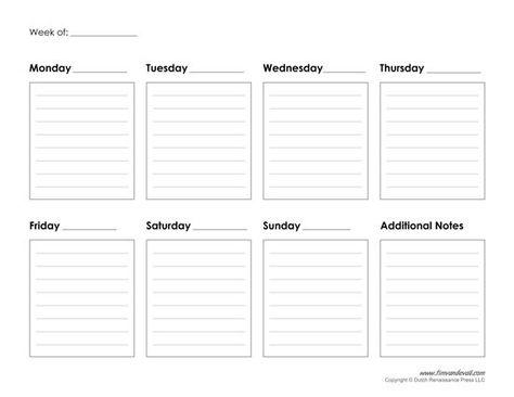 Blank Weekly Calendars Printable Activity Shelter Calendar