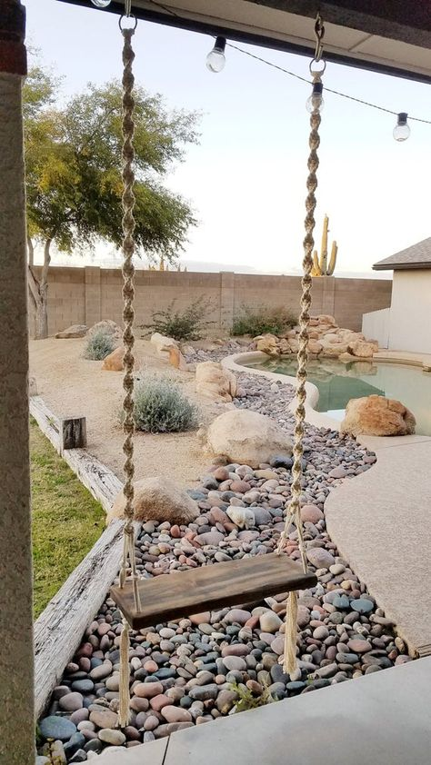 Wedding Swing, Tree Wedding, Boho Wedding, Landscape Design, Garden Design, Wood Swing, Backyard Patio Designs, Desert Backyard, Patio Ideas