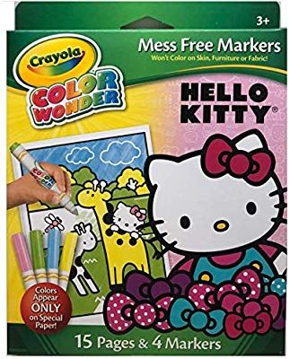Amazon Com Crayola Color Wonder Markers Mess Free Hello Kitty 15 Page Coloring Pad And 4 Markers Office Prod Hello Kitty Coloring Hello Kitty Color Wonder