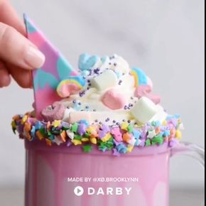 How to make a delicious unicorn drink with candy melts, strawberries, white chocolate, sprinkles, marshmallows, and more! #darbysmart #recipes #desserts #drinks #drinkrecipe #unicorns #unicornparty #partyideas #birthdayparty #ideasforkids