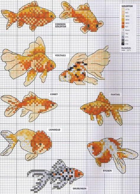 схема вышивки рыбки крестом
