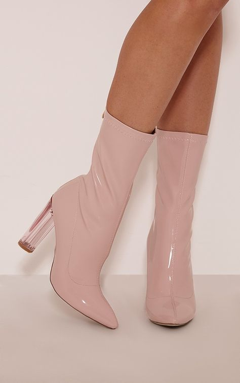 0955483da3 Chloe Perspex Heeled Ankle Boots in Nude PU | Public Desire | topánky in  2019 | Pink ankle boots, Shoe boots, Boots