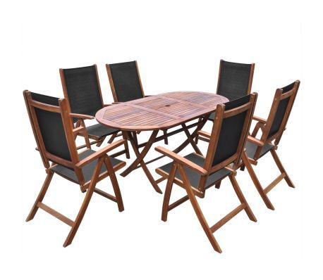 7 Piece Outdoor Dining Set Solid Acacia Wood Outdoor Dining Set Garden Dining Set Outdoor Wood Furniture