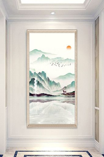 New Chinese Landscape Painting Frameless Decorative Painting Porch Design Chinese Landscape Painting Chinese Landscape Landscape Paintings