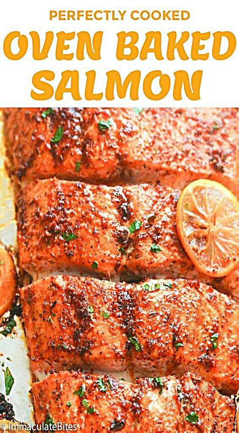 Oven Baked Salmon – moist and flaky highly seasoned salmon fillets with a lemony and spicy kick. A perfect easy weeknight meal for busy folks or as a low-carb go-to Lenten meal. Spicy, lemony, and moist – everything you want a salmon dinner to be! Oven Baked Salmon, Baked Salmon Recipes, Fish Recipes, Seafood Recipes, Cooking Recipes, Salmon Seasoning Baked, Baked Samon, Baking Salmon In Oven, Oven Fried Fish