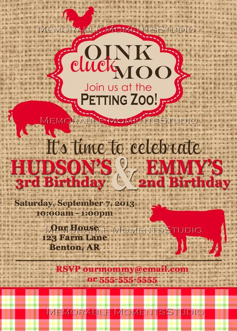 PRINTABLE INVITATIONS Vintage Petting Zoo or by MemorableMomentsSt