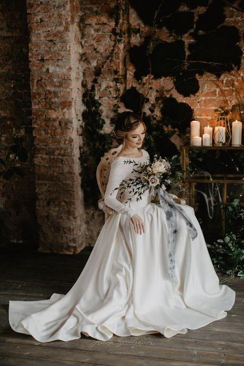 Two piece wedding dress, Ball gown wedding dress, Bohemian wedding dress, Satin wedding dress, Affor