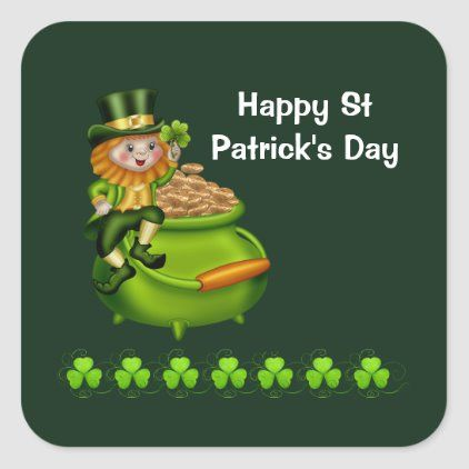 St Patrick S Day Pot Of Gold Leprechaun Shamrock Square Sticker Zazzle Com In 2021 St Patricks Day Wallpaper St Patricks Day Clipart St Patricks Day