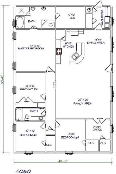 2400sq Ft Barndominium With 5 Bedrooms Salledebainsorientale With Images Barndominium Plans Metal House Plans Barndominium Floor Plans