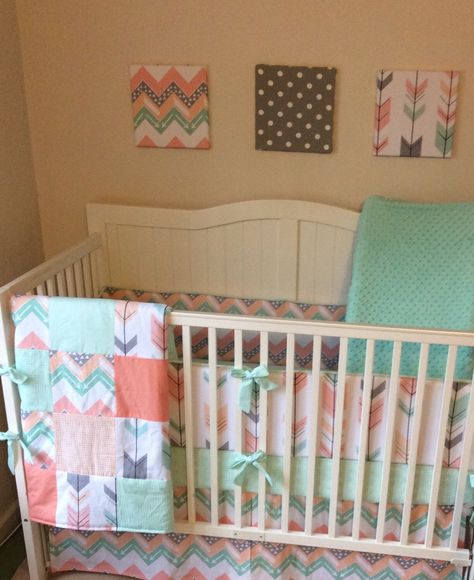 Peach mint coral and gray arrows and chevron crib bedding  A personal favorite from my Etsy shop https://www.etsy.com/listing/265521964/peach-gray-and-mint-arrows-and-deer-crib