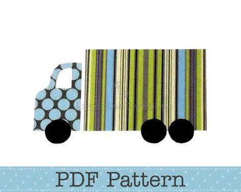Dump truck applique pattern construction applique template.