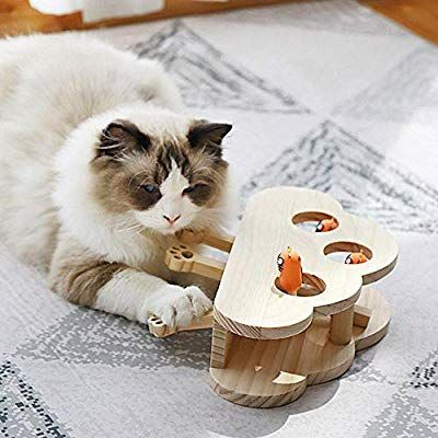 Volwco Cat Interactive Toys Teaser Cat Funny Hunt Toy Solid Wooden Whack A Mole Mouse Game Puzzle Toy Cat Punch Game 3 Interactive Toys Puzzle Toys Funny Cats