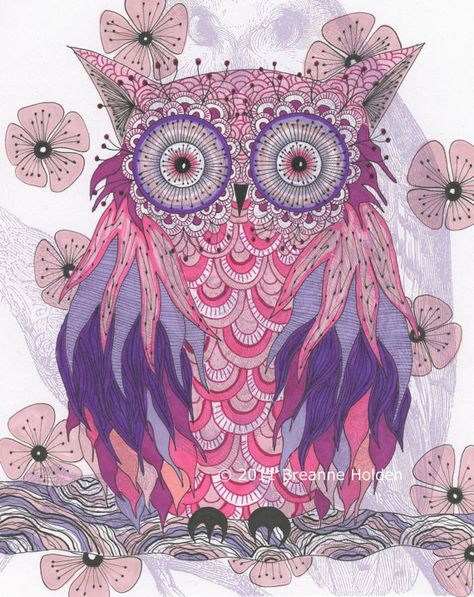 Whimsical Owl Painting Illustration Archival Print 8 X 10