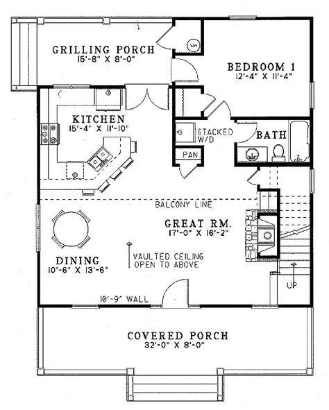 Farmhouse Style House Plan 2 Beds 2 Baths 1400 Sq Ft Plan 17 2019 Vacation House Plans House Plans Cabin Floor Plans