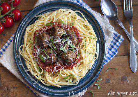 Pasta Og Italienske Kjottboller I Tomatsaus Italienske
