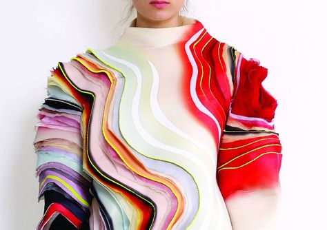 art of using layers of ruffles and colour in couture fashion sivan nisheri!
