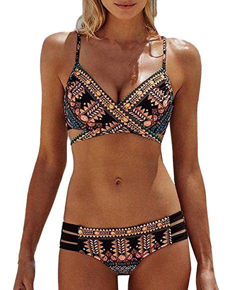 Ecute Damen Tankini Top Push Up Badeanzug Swimsuit