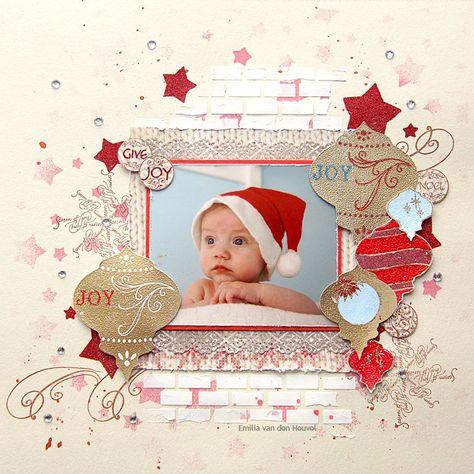"Layout: Christmas Joy {Sparkle N Sprinkle} ~ so CUTE using the ""stars"" stencil."