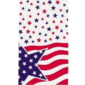 Tafelkleed USA -  Een plastic tafelkleed bedrukt in Amerikaanse stijl met sterren en strepen. Afmeting: 137 x 213cm. Ook te gebruiken als achtergrond (Scenesetter-muurposter) decoratie.   www.feestartikelen.nl